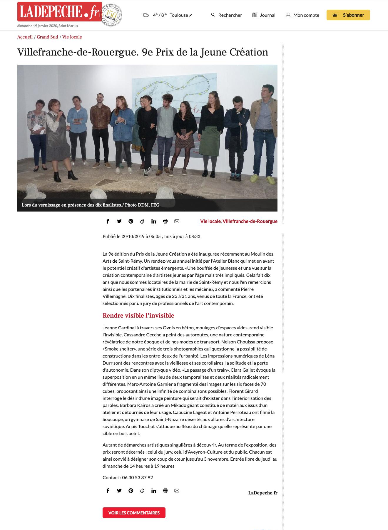 Article Presse - Jeanne Cardinal